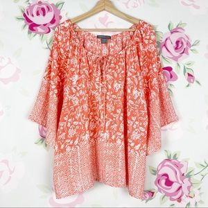 Kate & Mallory Orange Boho Printed Blouse 1X